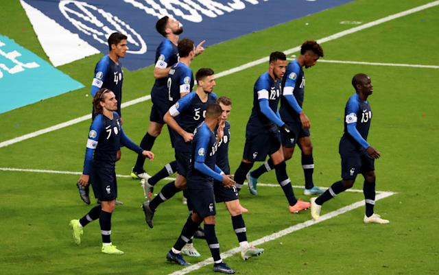 France players celebrate qualification for Euro 2020. (Photo by Xavier Laine/Getty Images)