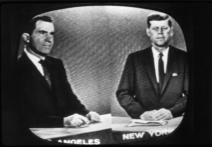 Richard Nixon in Los Angeles and John F. Kennedy in New York at their third presidential debate on Oct. 13, 1960.