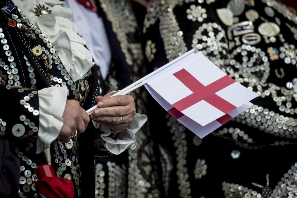 Members of the public during St George's Day celebrations at the Mayor of London's annual Feast of St George in Trafalgar Square, central London.