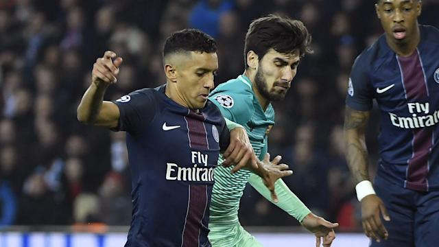 Andre Gomes Marquinhos PSG Barcelona Champions League R16 02142017