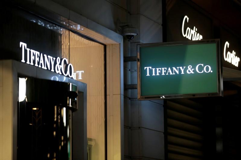 FILE PHOTO: The logo of U.S. jeweller Tiffany & Co. is seen at a store in Nice
