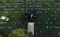 Aerial view of the burial of late Argentine football legend Diego Maradona at the Jardin Bella Vista cemetery, in Buenos Aires province, on November 26, 2020
