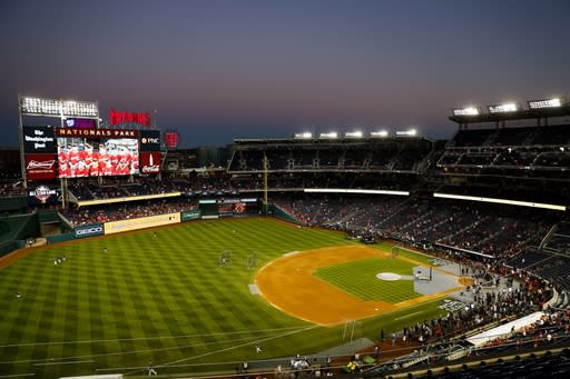 Nationals Park is seen before Game 5 of the baseball World Series between the Houston Astros and the Washington Nationals Sunday, Oct. 27, 2019, in Washington. (AP Photo/Jeff Roberson)