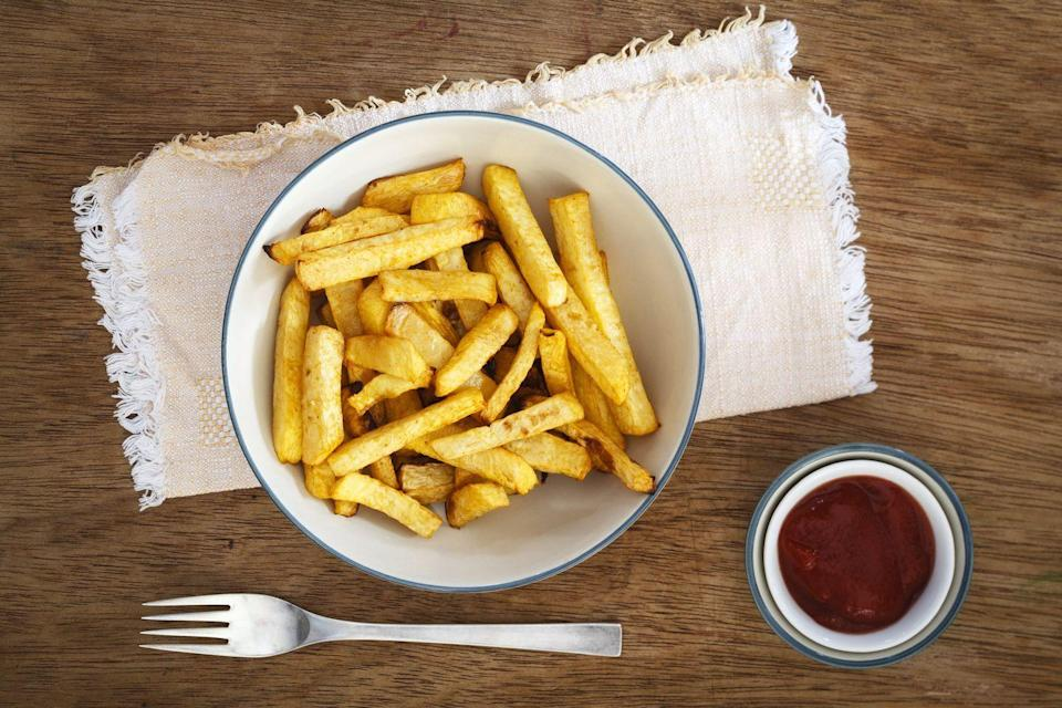 """<p>It's not just battered and fried bird that's tough on your ticker, though. High levels of potato consumption has been linked to increased risk for both <a href=""""https://www.ncbi.nlm.nih.gov/pubmed/16469985"""" rel=""""nofollow noopener"""" target=""""_blank"""" data-ylk=""""slk:hypertension"""" class=""""link rapid-noclick-resp"""">hypertension</a> and <a href=""""https://www.ncbi.nlm.nih.gov/pubmed/27189229"""" rel=""""nofollow noopener"""" target=""""_blank"""" data-ylk=""""slk:type 2 diabetes"""" class=""""link rapid-noclick-resp"""">type 2 diabetes</a> in scientific research. And frying the spuds delivers a one-two punch to your cardiac health.</p>"""