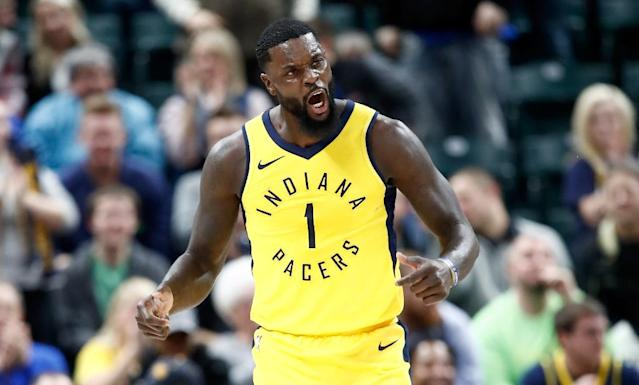 Lance Stephenson finished with 16 points and 11 rebounds for the Pacers who improved to 22-20 on the season with a 97-95 win over the Cleveland Cavaliers (AFP Photo/ANDY LYONS)