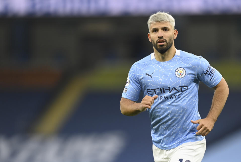 Manchester City's Sergio Aguero runs during the English Premier League soccer match between Manchester City and Arsenal at the Etihad stadium in Manchester, England, Saturday, Oct. 17, 2020. (Michael Regan/Pool via AP)