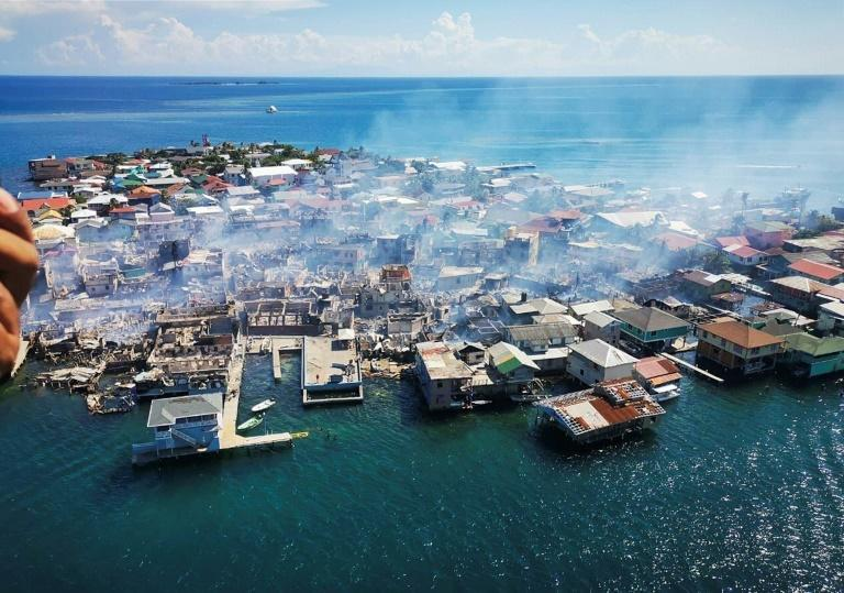 Guanaja island is seen after a fire was contained, on October 2, 2021 (AFP/Lester CARIAS)