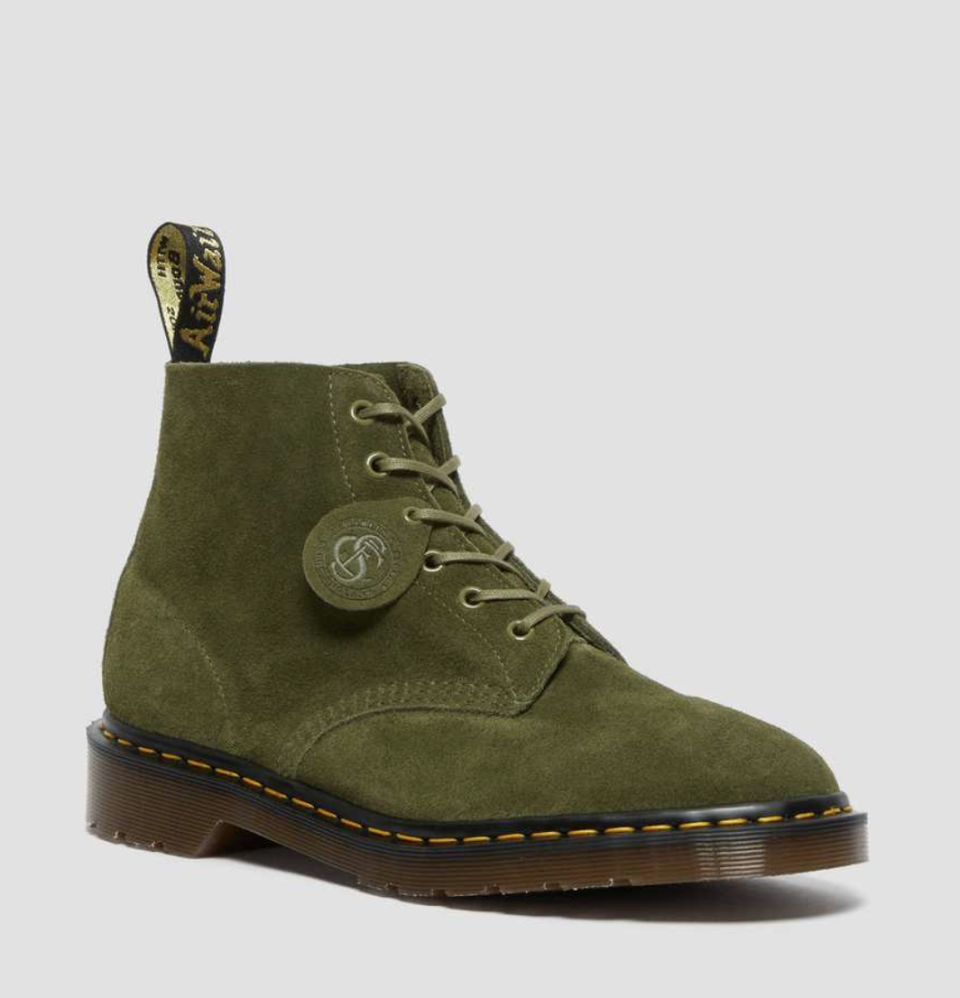101 Suede Ankle Boots in Army Green (Photo via Dr. Martens)