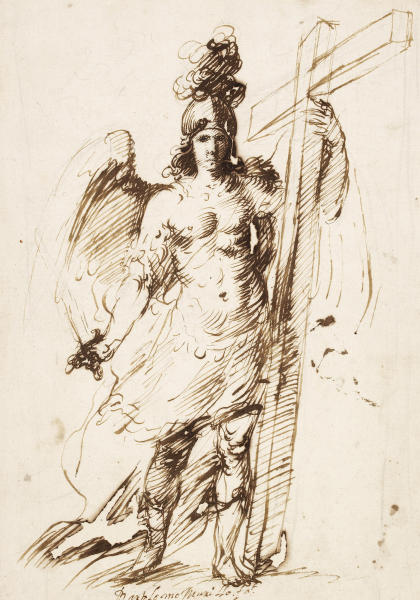 """This image provided by the New Mexico Museum of Art shows Bartolome Esteban Murillo's """"The archangel Michael,"""" 1655-60. The drawing is part of an exhibition, """"Renaissance to Goya: Prints and Drawings from Spain,"""" which opens Saturday, Dec. 14, 2013, at the New Mexico Museum of Art in Santa Fe, N.M. (AP Photo/Courtesy of the New Mexico Museum of Art)"""