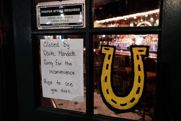 PHOTO: In this March 16, 2020, file photo, a restaurant sits closed in Brooklyn, N.Y., after a decree that all bars and restaurants shutdown by 8 p.m. (Spencer Platt/Getty Images, FILE)