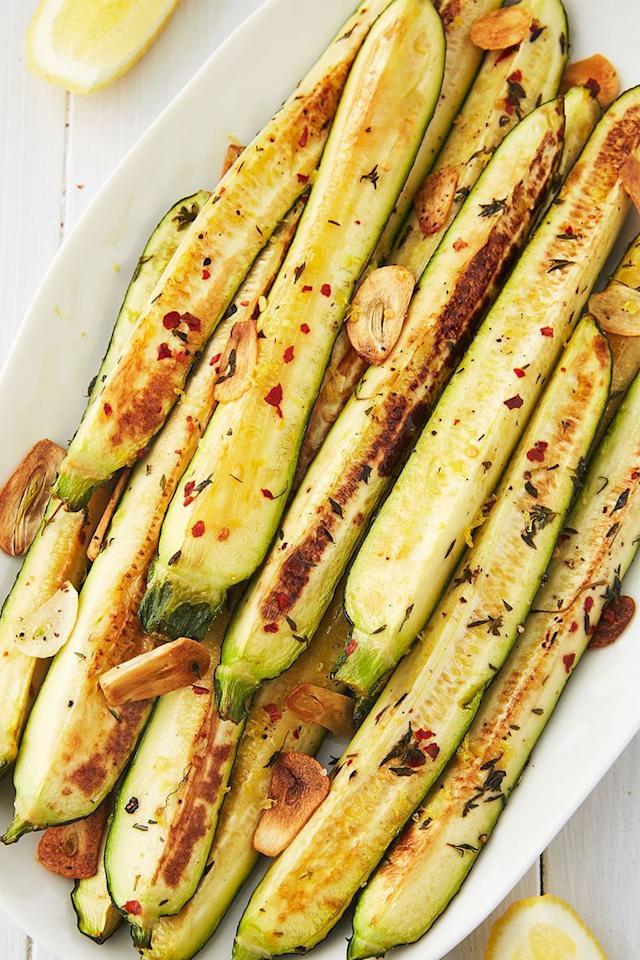 "<p>When it comes to roasted veggies, courgette is one of our favourites. First of all, it's FAST! (No shade, <a href=""https://www.delish.com/uk/cooking/a28963154/how-to-roast-beetroot/"">roasted beets</a>.) Courgette gets tender in no time at all, so make sure to start checking them early to ensure they're not turning to complete mush.</p><p>Get the <a href=""https://www.delish.com/uk/cooking/recipes/a33400469/baked-zucchini-recipe/"" target=""_blank"">Baked Courgette</a> recipe.</p>"