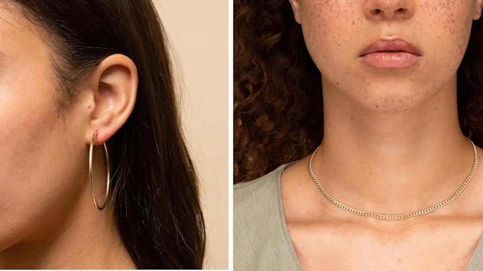 Mejuri's Oversized Thin Hoops and Curb Chain.
