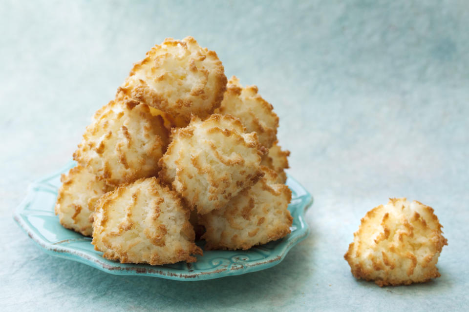 Plate of coconut macaroons.