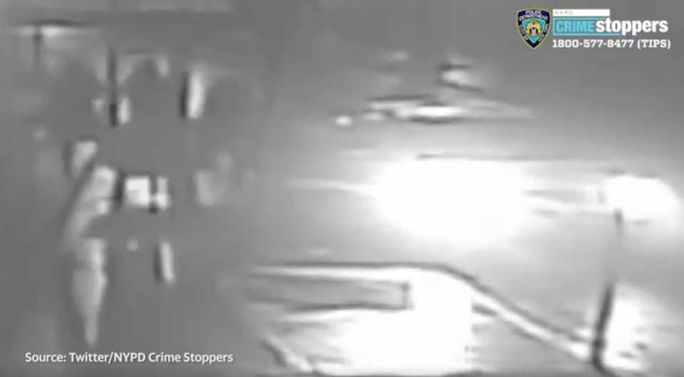 A still image from CCTV of the moment Karol Sanchez is apparently kidnapped in New York.