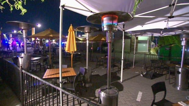 The patio of a Cactus Club Cafe at Market Crossing in Burnaby, B.C., is pictured after the shooting on Thursday.