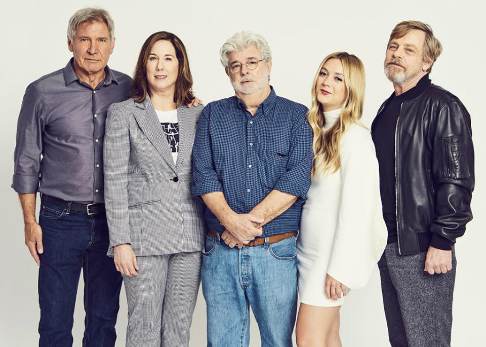 <p>Harrison Ford, Kathleen Kennedy, George Lucas, Billie Lourd and Mark Hamill (Photo: Gerardo Mora/Getty Images) </p>