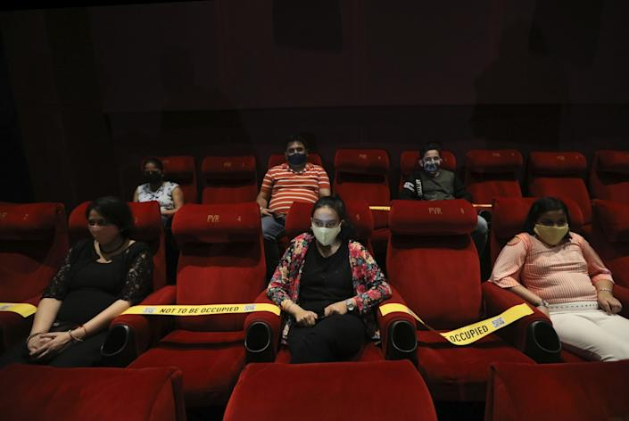 Viewers at a special screening of a Bollywood movie as cinemas reopen in New Delhi, India, on Oct. 15, 2020.