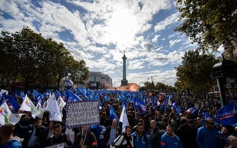 """Members of all police unions participate in a """"march of anger"""" to urge the French government to take measures to improve working conditions of police officers at Bastille - Credit: IAN LANGSDON/EPA-EFE/REX"""
