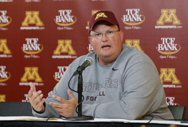Minnesota defensive coordinator Tracy Claeys speaks during the post-game press conference after an NCAA college football game against Western Illinois in Minneapolis Saturday, Sept. 14, 2013. Head coach Jerry Kill left the game after an epileptic seizure, and Claeys, who was in the press box, took over Kill's decision-making duties from the booth. Minnesota beat Western Illinois 29-12. (AP Photo/Ann Heisenfelt)