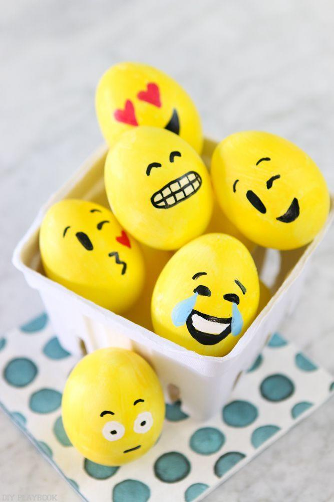 """<p>These silly Easter eggs require minimal art skills—even the youngest members of your family can make 'em!</p><p><strong>Get the tutorial at <a href=""""https://thediyplaybook.com/2017/04/diy-emoji-easter-eggs.html"""" rel=""""nofollow noopener"""" target=""""_blank"""" data-ylk=""""slk:The DIY Playbook"""" class=""""link rapid-noclick-resp"""">The DIY Playbook</a>. </strong><br></p><p><strong>RELATED:</strong> <a href=""""https://www.countryliving.com/diy-crafts/how-to/g1282/easter-egg-decorating-ideas/"""" rel=""""nofollow noopener"""" target=""""_blank"""" data-ylk=""""slk:Fun Easter Egg Decorating Ideas"""" class=""""link rapid-noclick-resp"""">Fun Easter Egg Decorating Ideas</a></p>"""