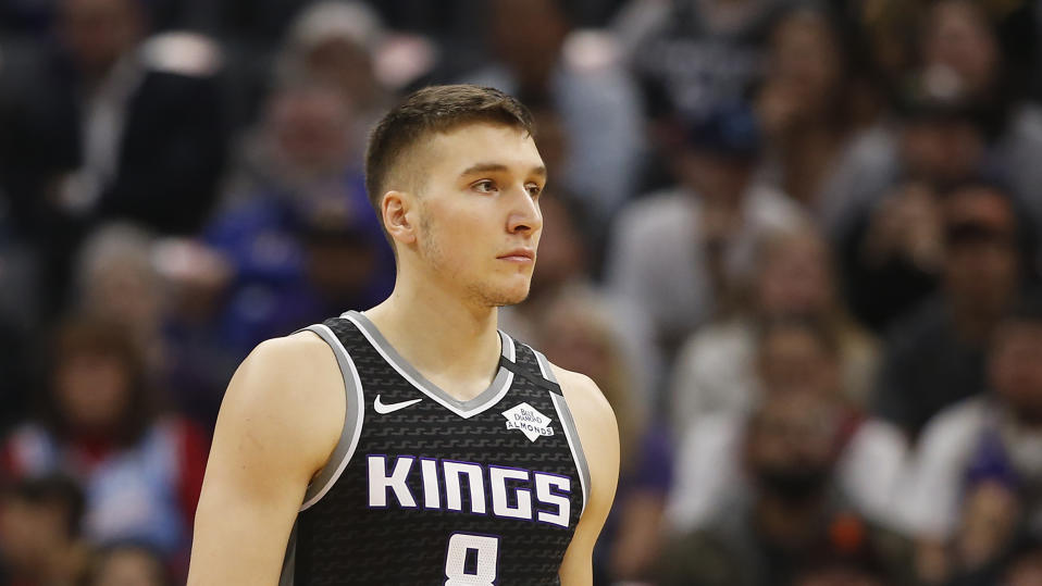 Sacramento Kings guard Bogdan Bogdanovic during the first quarter of an NBA basketball game against the Los Angeles Lakers in Sacramento, Calif., Saturday, Feb. 1, 2020. The Lakers won 129-113. (AP Photo/Rich Pedroncelli)