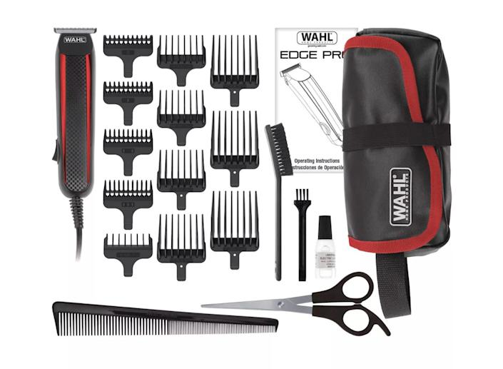 """This <a href=""""https://fave.co/33IXaG5"""" rel=""""nofollow noopener"""" target=""""_blank"""" data-ylk=""""slk:Wahl Edge Pro Men's Corded T-Blade Groomer"""" class=""""link rapid-noclick-resp"""">Wahl Edge Pro Men's Corded T-Blade Groomer </a>kit comes with 12 individual blade guards for easy and precise grooming that delivers a close trim, shave and prevents ingrown hairs. Find it for $23 at <a href=""""https://fave.co/33IXaG5"""" rel=""""nofollow noopener"""" target=""""_blank"""" data-ylk=""""slk:Target"""" class=""""link rapid-noclick-resp"""">Target</a>."""