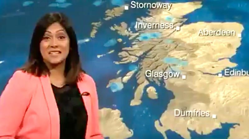 TV Weather Forecaster Can't Stop Giggling After Comical Caption Fail