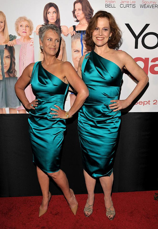 "<a href=""http://movies.yahoo.com/movie/contributor/1800016528"">Jamie Lee Curtis</a> and <a href=""http://movies.yahoo.com/movie/contributor/1800015109"">Sigourney Weaver</a> attend the Los Angeles premiere of <a href=""http://movies.yahoo.com/movie/1810111331/info"">You Again</a> on September 22, 2010."