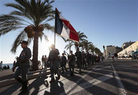 World War One Historical Association members attend an Armistice ceremony at the war memorial in Nice