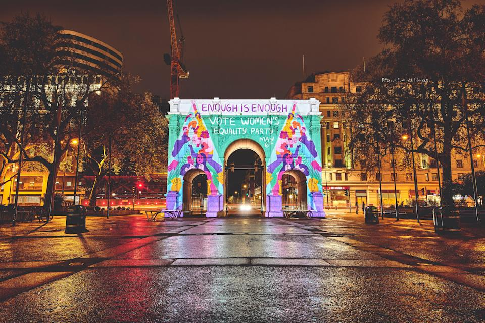 Marble Arch was lit up with the WEP message of 'Enough is Enough'Esther Lalanne / George Torode / WEP