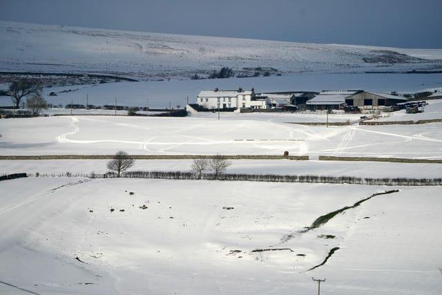 Snow-covered fields near Middleton-in-Teesdale, County Durham