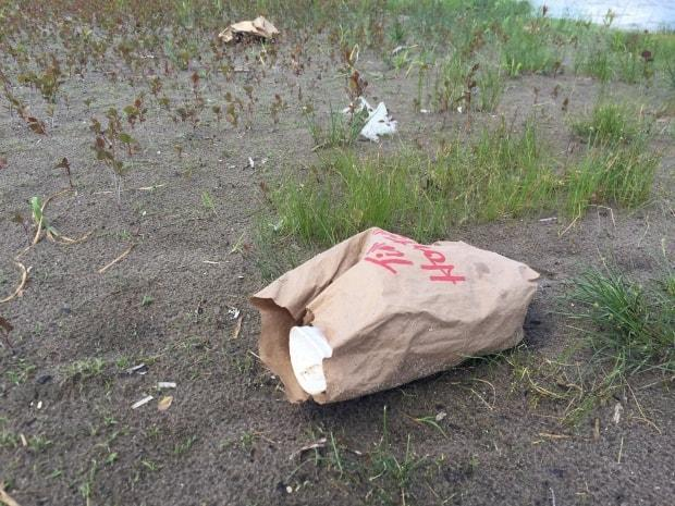 Tim Horton's litter found at Woodbine Beach. According to a city of Toronto litter audit, Tim Horton's accounted for 20 per cent of all branded litter.