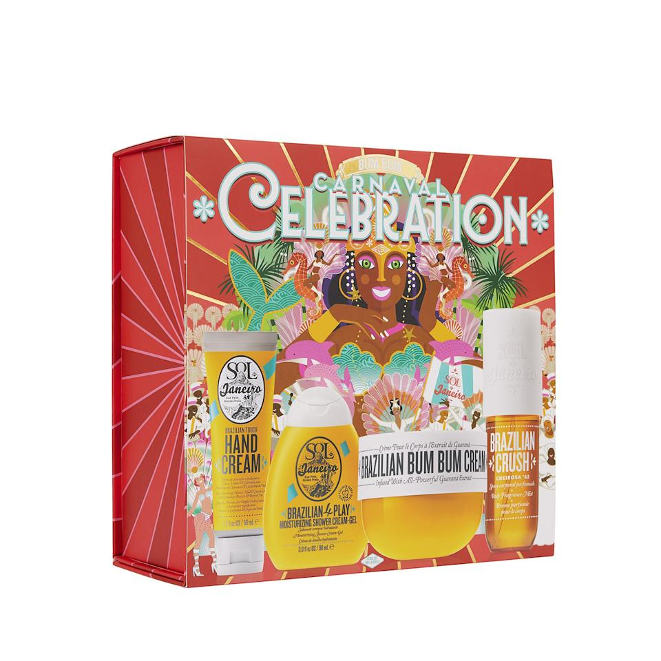 """<p>Fine, you can't afford a ticket to Rio de Janeiro for the holidays, but this Carnaval-themed kit is the next best thing. It contains Sol de Janeiro's iconic <a href=""""https://www.allure.com/review/sol-de-janeiro-brazilian-bum-bum-body-cream?mbid=synd_yahoo_rss"""">Bum Bum Cream</a>, plus a shower gel, fragrance mist, and hand cream with the brand's signature capability to bottle the scent and feel of vacation and incorporate it into a skin-care routine.</p> <p><strong>$59</strong> (<a href=""""https://shop-links.co/1688901665969407061"""" rel=""""nofollow"""">Shop Now</a>)</p>"""