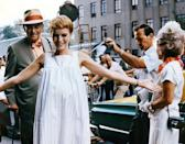 <p>Mia Farrow preps before a scene for <em>Rosemary's Baby</em>. The burgeoning actress, and wife of Frank Sinatra at the time, won the Academy Award for her role in the 1968 film. </p>