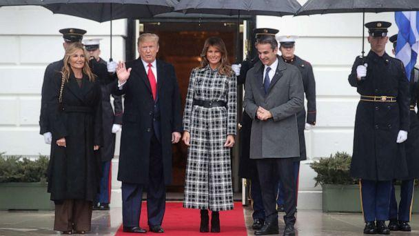 PHOTO: President Donald Trump and first lady Melania Trump welcome Greek Prime Minister Kyriakos Mitsotakis and Mareva Grabowski-Mitsotakis as they arrive at the White House, Jan. 7, 2020. (Jonathan Ernst/Reuters)