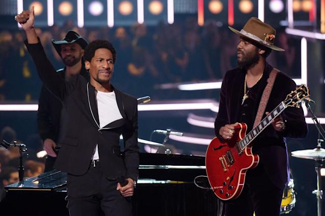 <p>Jon Batiste (left) and Gary Clark Jr. perform onstage during the 60th Annual Grammy Awards at Madison Square Garden in New York City on January 28, 2018. (Photo: Getty Images) </p>