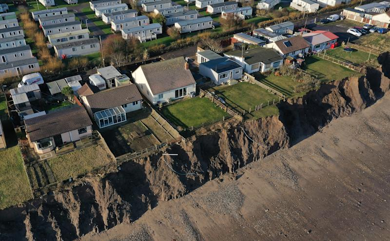Houses on the coastline in Skipsea, East Ridings of Yorkshire (Picture: PA)