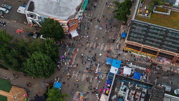 PHOTO: An aerial view of the intersection of East Pine Street and 11th Avenue is seen during ongoing Black Lives Matter events, June 14, 2020 in Seattle. (David Ryder/Getty Images)