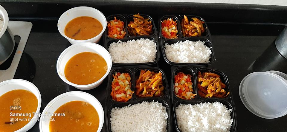 A sneak peek inside the delivery package cooked by Sujata for covid patients
