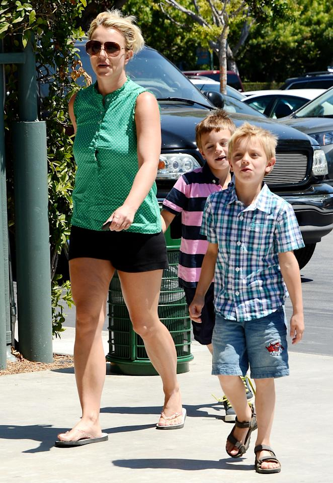 "Moms ""r"" fun! That's what Britney Spears's sons, Sean Preston and Jayden James, must have been thinking as they made their way into a Los Angeles Toys ""R"" Us for a shopping spree. (8/18/2013)"