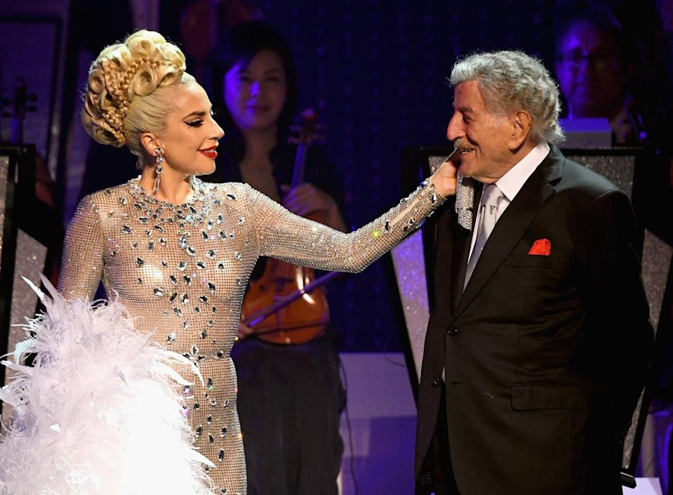 LAS VEGAS, NV - JANUARY 20:  Lady Gaga (L) performs with Tony Bennett during her 'JAZZ & PIANO' residency at Park Theater at Park MGM on January 20, 2019 in Las Vegas, Nevada.  (Photo by Kevin Mazur/Getty Images for Park MGM Las Vegas)