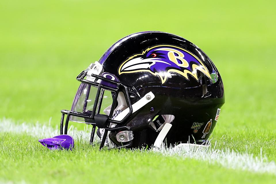 BALTIMORE, MARYLAND - JANUARY 11: A detail of a Baltimore Ravens helmet before the AFC Divisional Playoff game between the Baltimore Ravens and the Tennessee Titans at M&T Bank Stadium on January 11, 2020 in Baltimore, Maryland. (Photo by Maddie Meyer/Getty Images)