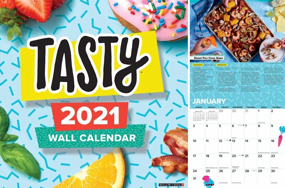 """Filled with unique, easy meal ideas (and mouth-watering photos), this calendar will ensure that you won't get stuck eating the same thing over and over again.<br /><br /><strong>Promising review:</strong>""""Great quality calendar. This is the second year I purchased this calendar. Great recipes, plus great quality. I always look for a calendar that won't sag throughout the year, this one doesn't! I have this in my office and it's a great conversation starter."""" —<a href=""""https://www.amazon.com/dp/1549213482?tag=huffpost-bfsyndication-20&ascsubtag=5833640%2C8%2C43%2Cd%2C0%2C0%2C0%2C962%3A1%3B901%3A2%3B900%3A2%3B974%3A3%3B975%3A2%3B982%3A2%2C16262011%2C0"""" target=""""_blank"""" rel=""""noopener noreferrer"""">Dee Anna Chappell<br /></a><br /><strong>Get it from Amazon for<a href=""""https://www.amazon.com/dp/1549213482?tag=huffpost-bfsyndication-20&ascsubtag=5833640%2C8%2C43%2Cd%2C0%2C0%2C0%2C962%3A1%3B901%3A2%3B900%3A2%3B974%3A3%3B975%3A2%3B982%3A2%2C16262011%2C0"""" target=""""_blank"""" rel=""""noopener noreferrer"""">$11.98</a>.</strong>"""