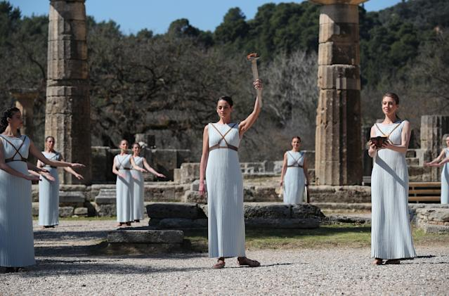 The Tokyo 2020 Olympics torch lighting ceremony in ancient Olympia was held without spectators.