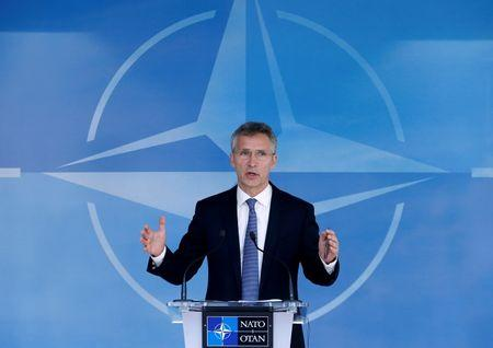 NATO Secretary-General Stoltenberg briefs the media during a NATO defence ministers meeting in Brussels