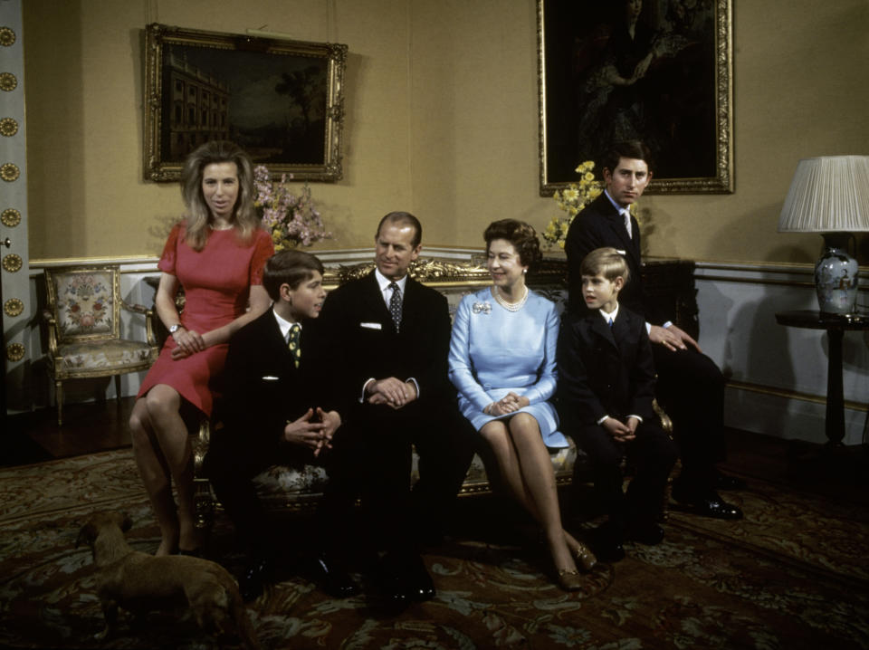 The royal family at Buckingham Palace, London, 1972. Left to right: Princess Anne, Prince Andrew, Prince Philip, Queen Elizabeth, Prince Edward and Prince Charles. (Photo by Fox Photos/Hulton Archive/Getty Images)Elizabeth II
