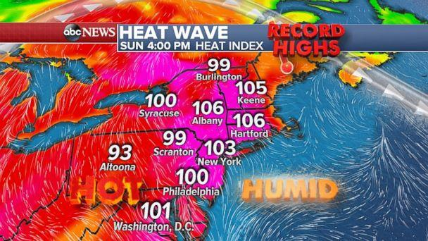 The hottest day of the heat wave will be on Sunday in the Northeast. (ABC News)