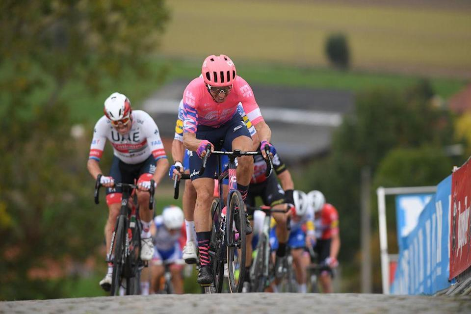 Italian Alberto Bettiol of EF Education First Pro Cycling rides the Paterberg in the Ronde van Vlaanderen  Tour des Flandres  Tour of Flanders one day cycling race 241 km from Antwerp to Oudenaarde on October 18 2020 Photo by DAVID STOCKMAN  BELGA  AFP  Belgium OUT Photo by DAVID STOCKMANBELGAAFP via Getty Images