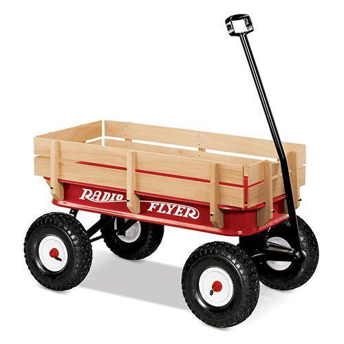 """<p><strong><em>Radio Flyer Wagon</em></strong><strong><em>, $134</em></strong> <a class=""""link rapid-noclick-resp"""" href=""""https://www.amazon.com/gp/product/B00000K1VS/?tag=syn-yahoo-20&ascsubtag=%5Bartid%7C10050.g.35033504%5Bsrc%7Cyahoo-us"""" rel=""""nofollow noopener"""" target=""""_blank"""" data-ylk=""""slk:BUY NOW"""">BUY NOW</a></p><p>Founded in 1917, American toy company Radio Flyer is best known for its popular red toy wagon. While they also produce scooters, tricycles, and bicycles, the classic steel-and-wood wagon provides a bit of nostalgia and a whole lot of fun.</p>"""