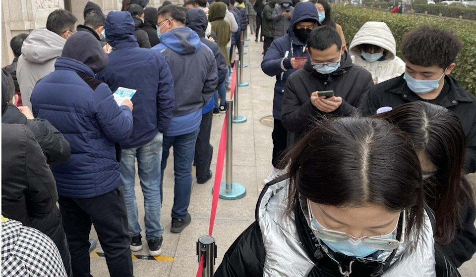 People line up to get vaccinated in Beijing on Tuesday. China aims to inoculate 40 per cent of the population by July. Photo: Simon Song